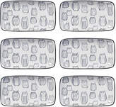 Torre & Tagus Kiri Rectangular Porcelain Printed Tapas Plates (Set of 6)