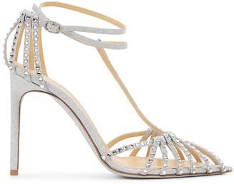 Giannico Eve 100 crystal-embellished glittered sandals