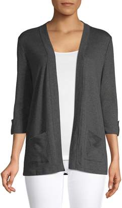 Karen Scott Petite Three-Quarter-Sleeve Open Front Cardigan