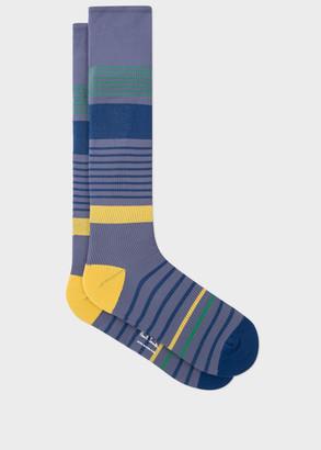 Paul Smith Men's Grey Block Stripe 'A Sock To Travel In'