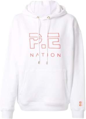 P.E Nation Rebuild logo print hoodie