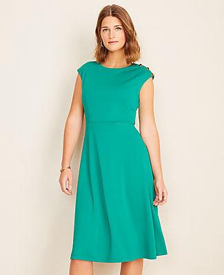 Ann Taylor Petite Shoulder Button Matte Jersey Flare Dress