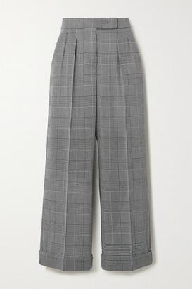 Max Mara Erice Cropped Prince Of Wales Checked Wool Wide-leg Pants - Dark gray