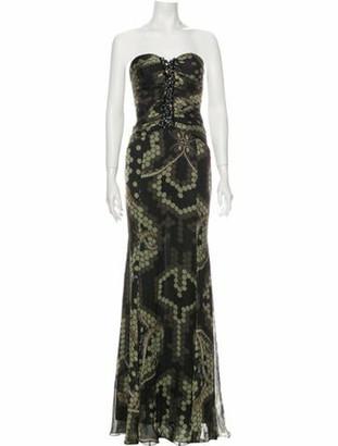 Philipp Plein Silk Long Dress w/ Tags Black