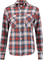 R 13 Zip-detailed check cotton-blend flannel shirt
