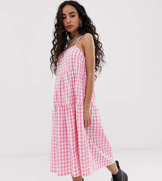 Collusion COLLUSION Petite tiered cami smock midi dress in gingham seersucker-Pink