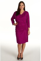 DKNY DKNYC - Plus Size 3/4 Sleeve Cowlneck Side Ruched Dress (Orchid) - Apparel