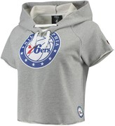 Unbranded Women's Heathered Gray Philadelphia 76ers French Terry Raw Edge Cropped Hoodie