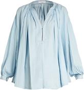 Sonia Rykiel V-neck pleated chambray blouse