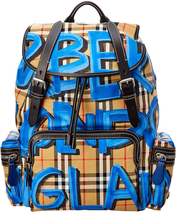 Burberry Graffiti Logo Print Vintage Check Backpack