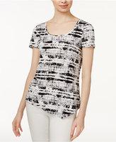 Kensie Printed Asymmetrical Top