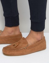Asos Slippers In Brown With Faux Shearling Lining