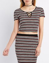 Charlotte Russe Striped & Ribbed Caged Crop Top