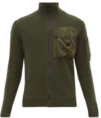 C.P. Company Technical Pocket Wool Blend Zip Through Cardigan - Mens - Green