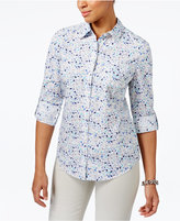 Karen Scott Petite Floral-Print Cotton Roll-Tab Shirt, Only at Macy's
