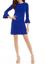 London Times Ruffle-Hem Shift Dress
