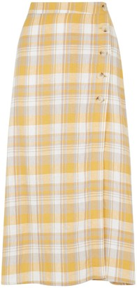New Look Check Linen Blend Button Side Midi Skirt