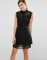 Fashion Union Sleeveless Shirt Dress With Sheer Spot Panels And Scallop Trim