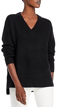 C by Bloomingdale's Cashmere V-Neck High Low Sweater - 100% Exclusive