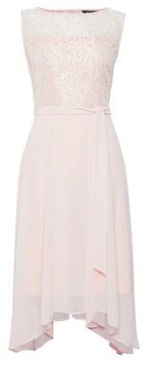Dorothy Perkins Womens Billie & Blossom Blush Lace Hanky Hem Midi Dress