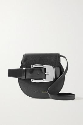 Proenza Schouler Buckle-embellished Textured And Patent-leather Shoulder Bag - Black