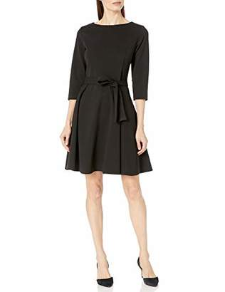 Lark & Ro Women's Three Quarter Sleeve Flare Dress