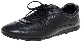 Prada Sport Black Leather Lace Low Top Sneakers Size 43