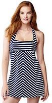 Lands' End Women's Petite Beach Living Dresskini Swimsuit Top-Deep Sea Stripe