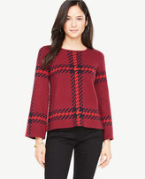 Ann Taylor Plaid Bell Sleeve Sweater