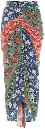 Veronica Beard Pixie floral stretch-silk midi skirt