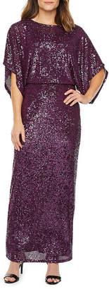 BLU SAG HairE Blu Sage 3/4 Sleeve Sequin Evening Gown