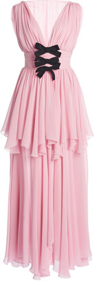 Giambattista Valli Bow-Detailed Silk Georgette Midi Dress