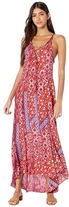 Free People Work of Art Printed Maxi Dress (Raspberry) Women's Dress