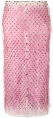 Paco Rabanne Paillette Midi Pencil Skirt