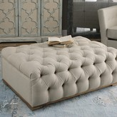 The Well Appointed House Plush Diamond Tufted Ottoman in Antique White Linen