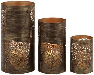 Uma Enterprises Rustic Traditional Metal Leaf Hurricanes, Bronze Brass, 3-Piece Set