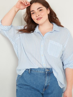Old Navy Oversized Boyfriend Striped Crinkle-Texture No-Peek Plus-Size Shirt