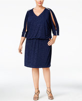 MSK Plus Size Rhinestone Cold-Shoulder Blouson Dress