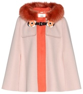 Fendi Fur-trimmed wool cape
