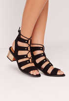 Missguided Low Bold Block Heel Lace Up Sandal Black