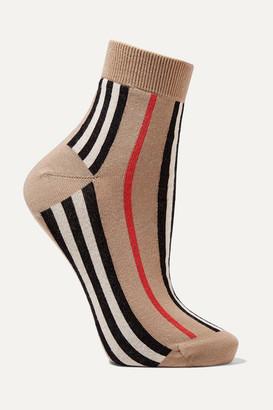Burberry Striped Cotton-blend Socks - Beige