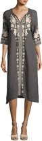 Johnny Was Carmelita Embroidered Linen Peasant Dress, Voltage