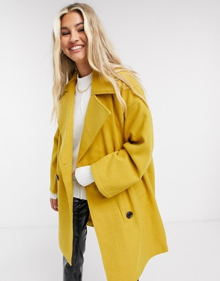 NATIVE YOUTH double breasted coat in mustard