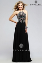 Faviana s7720 Chiffon halter evening dress with keyhole and colorful beading