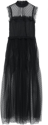 RED Valentino Shirred Ruffle-trimmed Point D'esprit Maxi Dress