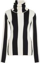 MONSE Striped Ribbed-Knit Turtleneck Sweater