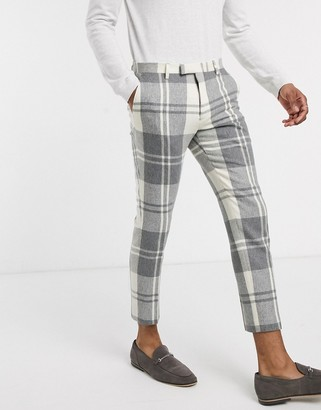Twisted Tailor suit pants in cream and grey check