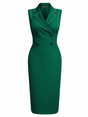 MIUSOL Womens Vintage Bodycon V-Neck Tailored Collar Sleeveless Business Work Party Pencil Dress