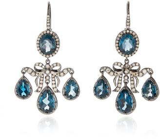 Holly Dyment Medora Girandole 14K White Gold, Topaz And Diamond Earrin