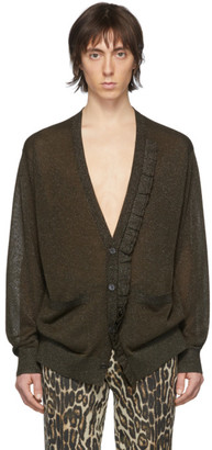 Dries Van Noten Khaki Metallic Ruffle Cardigan